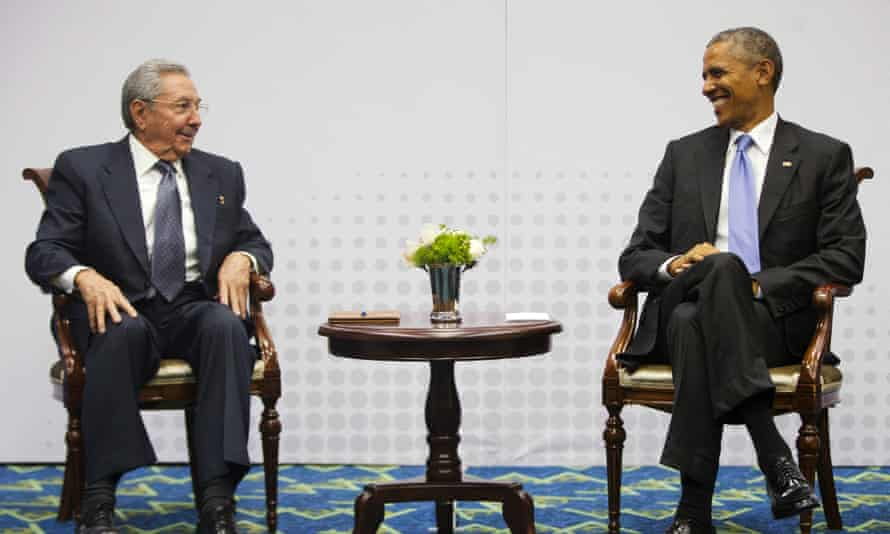 Cuban president Raúl Castro and US president Barack Obama meet at the Summit of the Americas in Panama City, Panama.