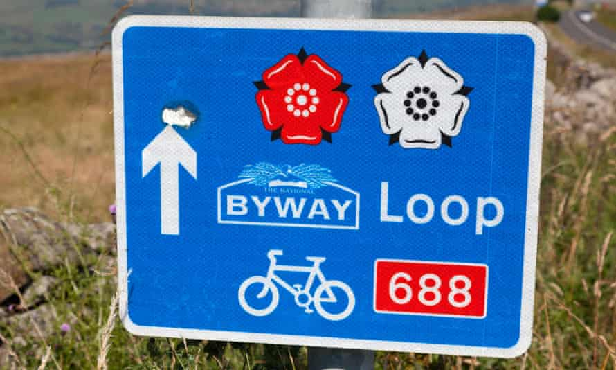 Sign for the 'Way of the Roses' cycle route, Greenhow, Yorkshire