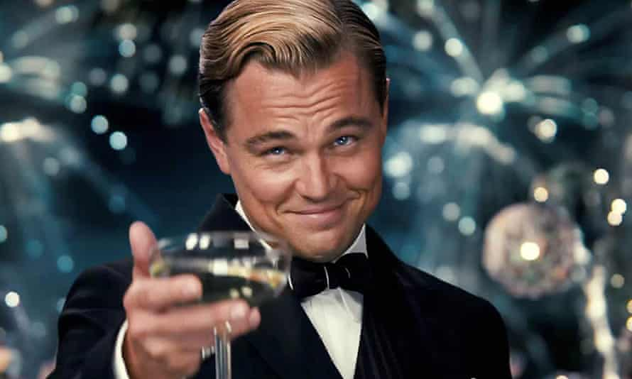 Chin-chin, old sport … Leonardo DiCaprio in Baz Luhrmann's film adaptation of The Great Gatsby (2013)