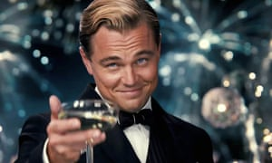 Leonardo DiCaprio playing the title role in the 2013 film of The Great Gatsby.