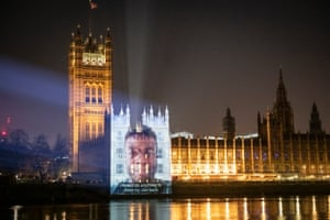 London, England. A video is projected on to the Houses of Parliament in Westminster by the pressure groups Led by Donkeys and Covid-19 Bereaved Families for Justice. The video shows bereaved relatives asking Boris Johnson to stop 'ignoring' them