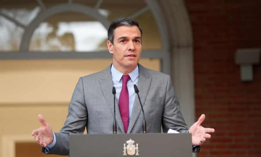Pedro Sanchez gives a statement after the cabinet decided to pardon the Catalan leaders.