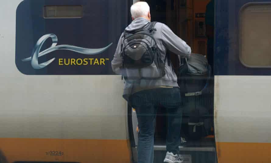 Man boards a Eurostar train