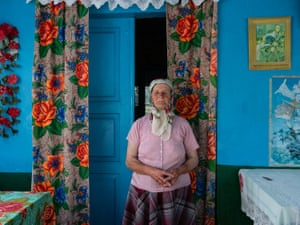 Ludwinia Michalec aged 69, a pensioner from a dying village in Ukraine