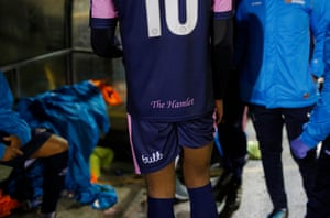 A player in the dressing room after the Dulwich Hamlet v Crystal Palace fundraising friendly match
