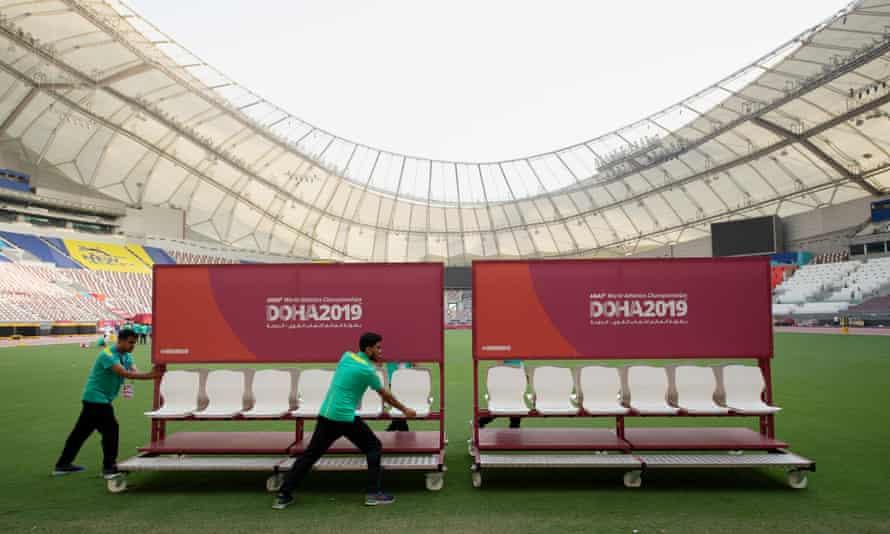 Preparations at the Khalifa International Stadium in Doha, Qatar