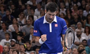 Novak Djokovic celebrates a winner during a dominant display against Andy Murray, who he defeated 6-2, 6-4.