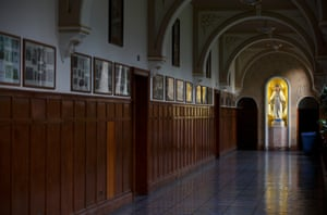 The corridor at Blackrock College that shows all the old first-team rugby photos.