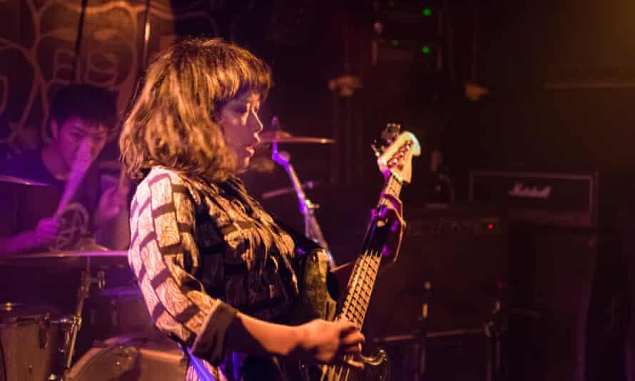 Bass player from the band Annabel Lee performing at Niman Denatsu.