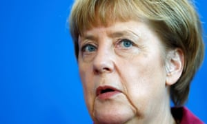 Angela Merkel addresses a news conference after talks with Malta's prime minister in Berlin.