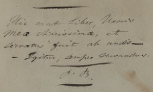 An inscription by Charlotte Brontë's father Patrick, in the cope of Robert Southey's The Remains of Henry Kirke White owned by Maria Branwell, Brontë's mother.