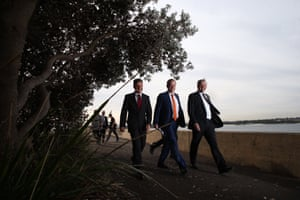 Opposition leader Bill Shorten, Anthony Albanese and the member for Kingsford Smith Matt Thistlethwaite on their way to a press conference after touring a container freight facility in Port Botany in Sydney this morning, Monday 18th May 2016.