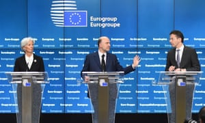 International Monetary Fund chief Christine Lagarde, European Commissioner for Economic and Financial Affairs, Taxation and Customs Pierre Moscovici and Eurogroup President and Dutch Finance Minister Jeroen Dijsselbloem.