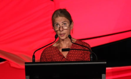 Author Lionel Shriver delivers the opening address at the Brisbane Writers festival 2016.