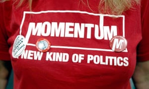A t-shirt in support of Momentum, grassroots movement supportive of Jeremy Corbyn