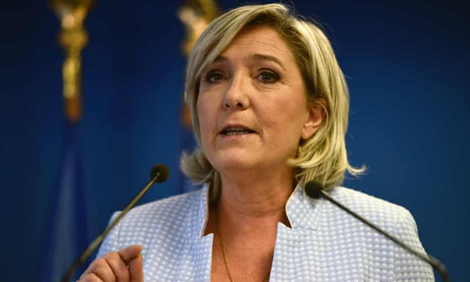 Marine Le Pen greets Trump's victory