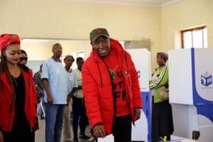 Julius Malema, the leader of the Economic Freedom Fighters party, casts his ballot in Polokwane