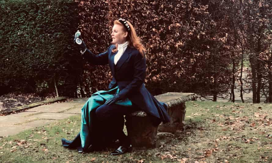 The Duchess of York dressed in a Victorian-style outfit to promote her debut novel.