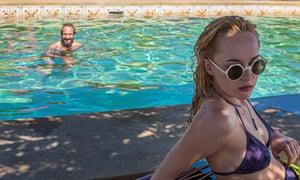 Glamour implied: Ralph Fiennes and Dakota Johnson in the film A Bigger Splash.