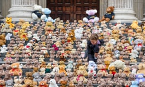 Teddy bears, placed on the steps of St Paul's Cathedral in London last summer by the charity World Vision, to symbolise the 700 children fleeing conflict in South Sudan each week