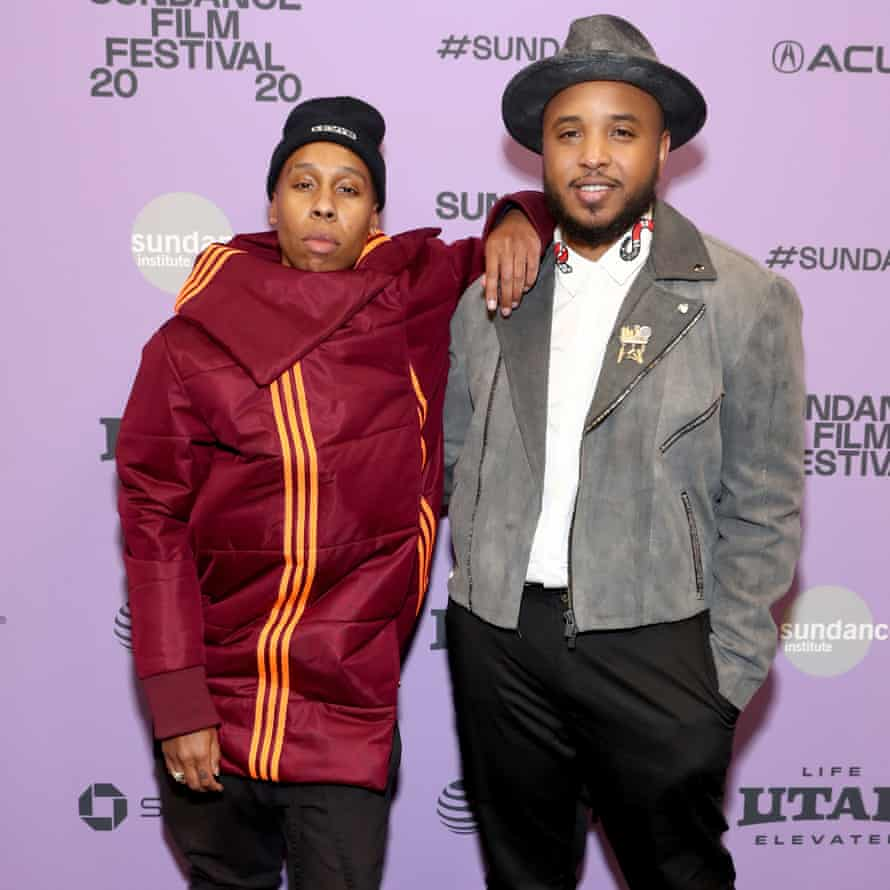 Lena Waithe and director Justin Simien at the premiere of Bad Hair.