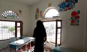The damage inside a school building in Sana'a.