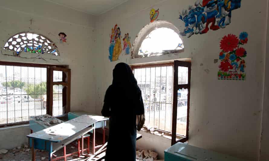 The damage inside a school building in Sana'a.