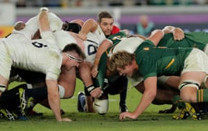 England collapse a scrum and referee Jerome Garces awards another penalty to South Africa.