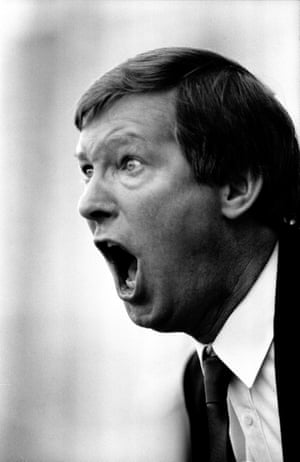 Manchester United boss Alex Ferguson shouts from the touchline as his team play Luton Town on 3rd October 1987.