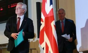 David Davis (left) and Michel Barnier arrive for the press conference.