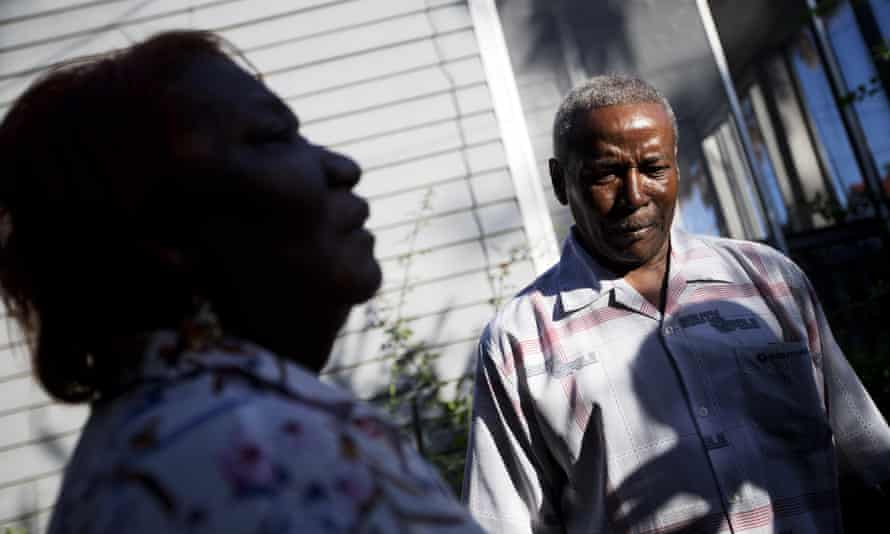 Walter Jackson, right, the son of Susie Jackson who died in Wednesday's shooting.