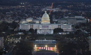 The US Capitol is prepared for the inauguration ceremonies.