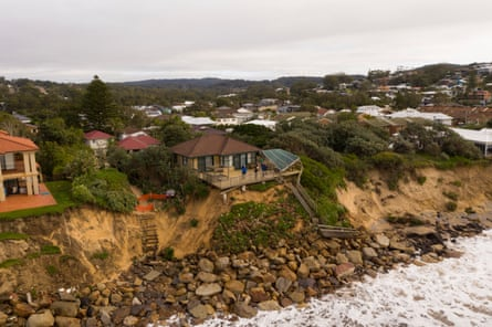 Coastal erosion in the suburb of Wamberal on the Central Coast of NSW where homes are at risk of collapse after huge swells hit the state's beaches on Thursday.