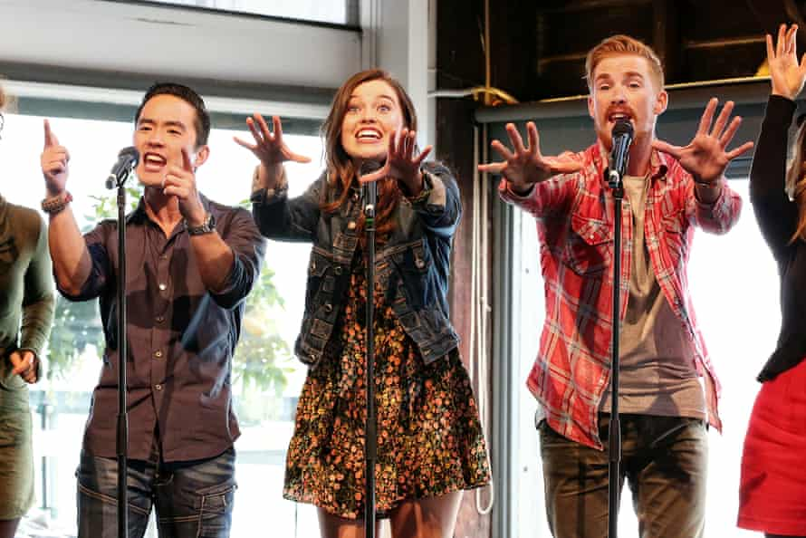 Kaeng Chan, Maggie McKenna & Michael Whalley at the Muriel's Wedding The Musical cast announcement on Wednesday.