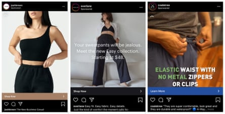 Brands advertising track pants as 'The new business casual'; wide legged pants that