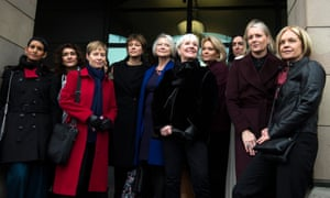 Former and current female BBC presenters attending the hearing.