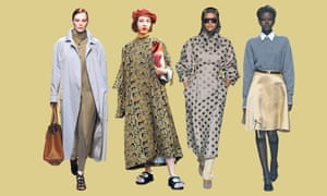 From left: a model on the catwalk at the Salvatore Ferragamo show; a guest at the Marni show; a model wears a headscarf on the Max Mara catwalk; and the Prada show, all SS19 at Milan fashion week.