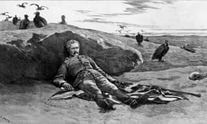 An illustration from 1885 depicting the death of General Charles Gordon in Khartoum, Sudan