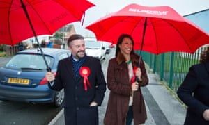 Jon Ashworth, with fellow Labour MP Gloria De Piero, campaigning in Walsall, West Midlands.