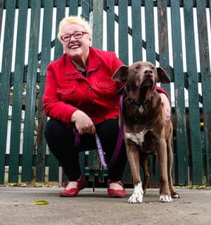 Amethyst DeWilde with her dog, Mojo.
