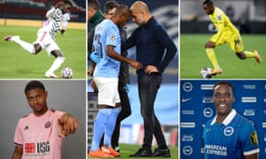 Clockwise from top left: Manchester United defender Axel Tuanzebe, Fernandinho is consoled by Pep Guardiola, Fulham winger Ademola Lookman, Brighton recruit Danny Welbeck and Sheffield United striker Rhian Brewster.