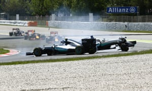Lewis Hamilton and Nico Rosberg spin out of the race after their collision.