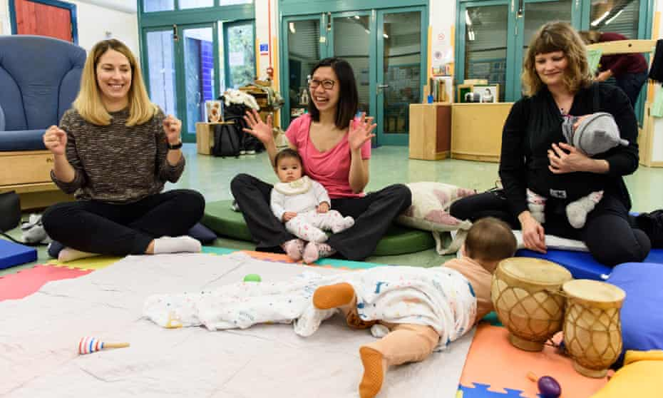 Mothers and babies at the Breathe Arts Health Research centre in south-east London.