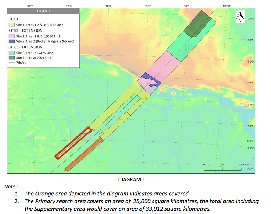Malaysian government map of the new MH370 search area. Orange area indicates the area searched in the first week, with no contact with MH370 made.