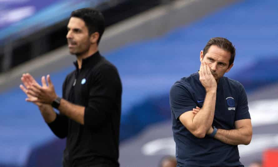 Major clubs are turning to former players with limited or no first-hand managerial experience: such as Arsenal with Mikel Arteta (left) and Chelsea with Frank Lampard.