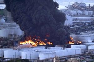 Texas, US. Firefighters battle a petrochemical fire
