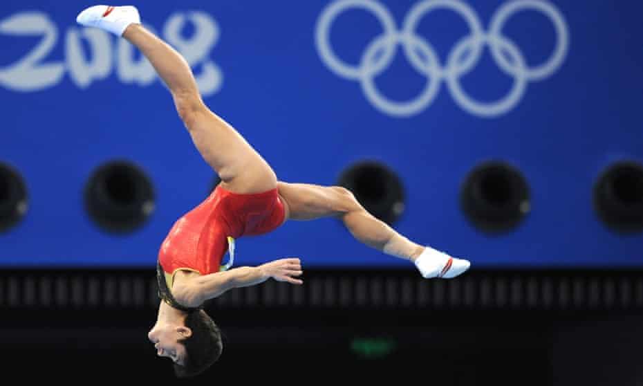 Oksana Chusovitina competes for Germany at the 2008 Beijing Olympics.