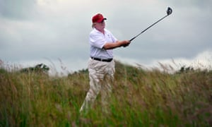 Donald Trump playing golf at his course in Aberdeenshire in 2012