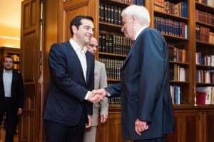 Greece's Prime Minister Alexis Tsipras meets with the President of The Hellenic Republic Prokopis Pavlopoulos d<br>epa04837551 Greece's Prime Minister Alexis Tsipras talks with the President of The Hellenic Republic Prokopis Pavlopoulos during a meeting in the Presidential Hall in Athens Greece, 08 July 2015. The European Stability Mechanism (ESM) received on 08 July the Greek request on a new loan programme. EPA/FOTIS PLEGAS G.