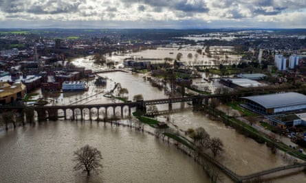 Flood water surrounds Worcester city centre on Thursday as residents in riverside properties in the area were told to leave their homes and businesses immediately after temporary flood barriers were overwhelmed by water